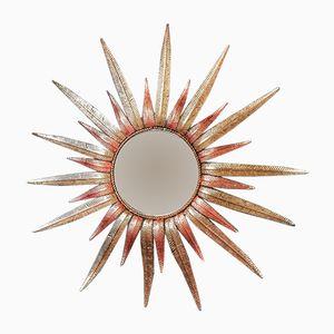 Spanischer Vintage Spiegel in Sonnen-Optik, 1970er