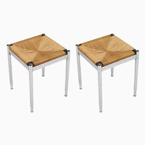 Chromed Steel, Straw, & Mahogany Stools, 1950s, Set of 2