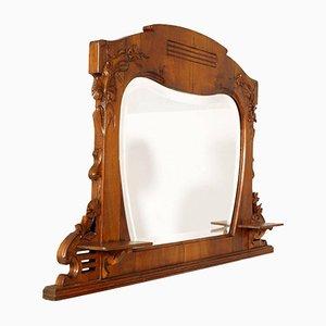 Specchio Art Nouveau in legno di noce intagliato di Testolini & Salviati, inizio XX secolo