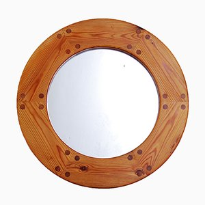 Swedish Pine Wall Mirror, 1960s