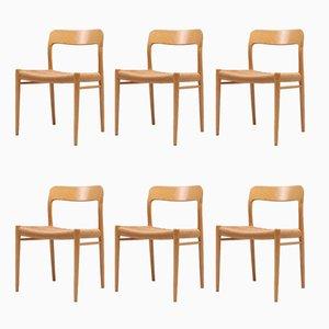 Moderne skandinavische Nr. 75 Stühle aus Eiche von Möller für J.L. Moller, 1970er, 6er Set