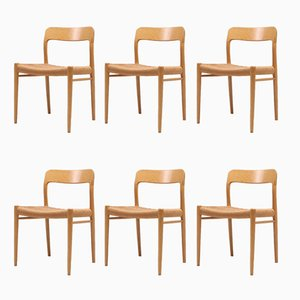 Scandinavian Modern Oak No. 75 Chairs by Niels Möller for J.L. Moller, 1970s, Set of 6