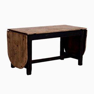 Mesa abatible antigua grande de madera de pino macizo, década de 1750