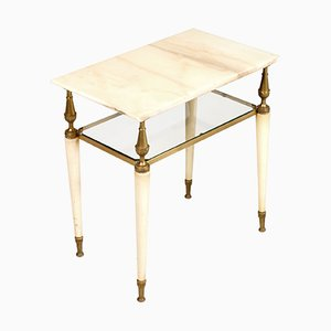 Tavolino da caffè veneziano in legno laccato e ottone dorato con ripiano in onice rosa, anni '10