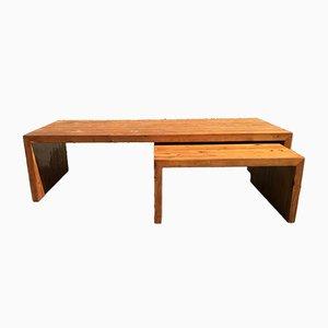 Tavolini da caffè in legno di pino di Ate van Apelantan per Houtwerk Hattem, anni '70, set di 2