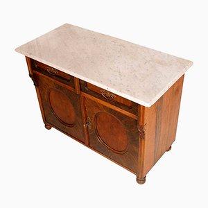Antiker italienischer Biedermeier Schrank mit Carrara Marmorplatte