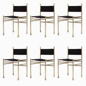 Brass & Black Velvet Dining Chairs by Luciano Frigerio, 1980s, Set of 6