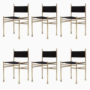 Esszimmerstühle aus Messing & schwarzem Samt von Luciano Frigerio, 1980er, 6er Set