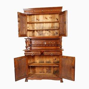 Art Nouveau Provençal Hand-Carved Solid Wood Cabinet
