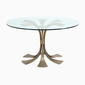 Hollywood Regency Hammered Brass Dining Table by Luciano Frigerio, 1970s