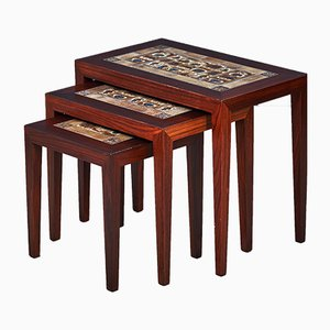 Rosewood Nesting Tables with Tile Tops by Severin Hansen for Haslev Møbelsnedkeri, 1960s