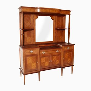 Antique Walnut, Mahogany & Maple Dresser with Mirror, 1910s