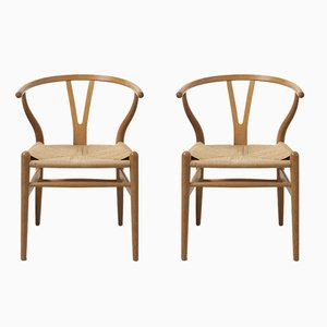 Oak Wishbone Chairs by Hans J. Wegner for Carl Hansen & Søn, 1999, Set of 2