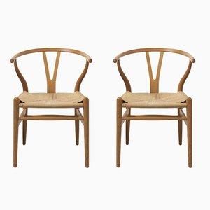 Wishbone Stühle aus Eichenholz von Hans J. Wegner für Carl Hansen & Søn, 1999, 2er Set