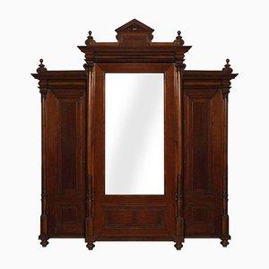 Armadio neoclassico in legno di noce massiccio e radica con interni in quercia