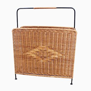 Vintage Wicker & Metal Magazine Rack