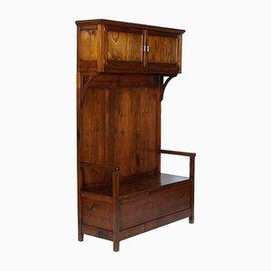 Panca Art Nouveau in legno d'abete con storage