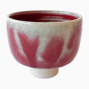 Weiße Teeschale aus Steingut mit Glasur in Blutrot von Marcello Dolcini, 2018