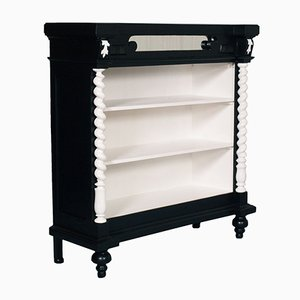Ebonized Neoclassic Carved Walnut & Lacquered Bookcase, 1900s