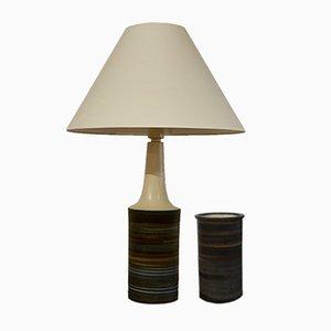 Juego de lámpara de mesa y jarrón danés de cerámica y vidrio de Okela, años 70