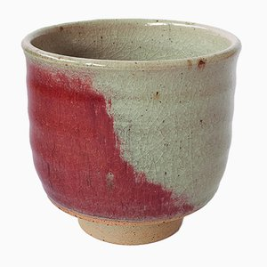 White Stoneware Tea Cup with Oxblood Glaze by Marcello Dolcini, 2018