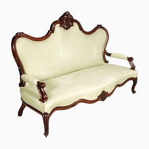 Handgeschnitztes venezianisches Sofa aus Nussholz, 1800er