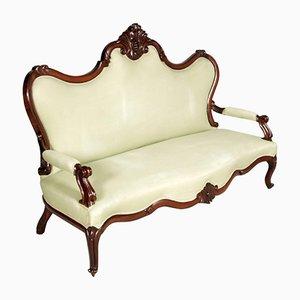 Venezianisches Sofa aus handgeschnitztem Nussholz, 1800er