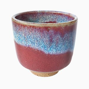 White Stoneware Teacup with Oxblood Flambé Glaze by Marcello Dolcini, 2018