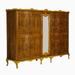 Baroque Revival Venetian Hand-Carved Walnut & Burl Wardrobe, 1940s