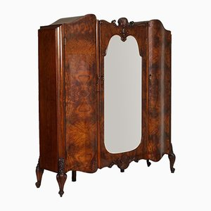 Baroque Venetian Hand-Carved Walnut & Burl Walnut Wardrobe with Mirror, 1910s