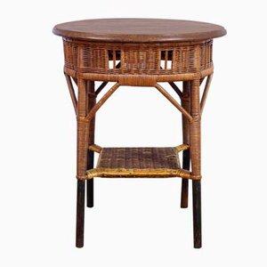 Tavolino in legno massiccio e vimini, anni '70