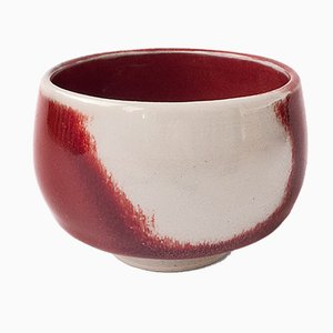 White Stoneware Teacup with Oxblood Glaze by Marcello Dolcini, 2018
