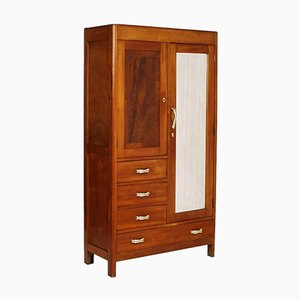 Art Deco Cherry Wood Wardrobe with Mirror