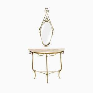 Antique Venetian Gilt Bronze & Marble Console Table with Mirror