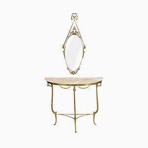 Consolle antica veneziana in bronzo dorato e marmo con specchio