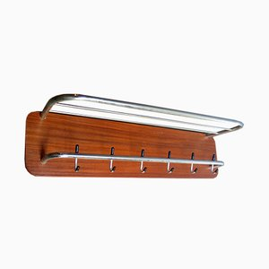 Garderobenleiste aus Metall & Holz, 1950er