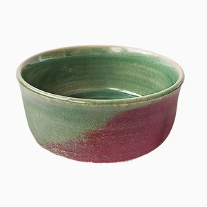 White Stoneware Tea or Soup Bowl with Copper Red Glaze by Marcello Dolcini, 2019