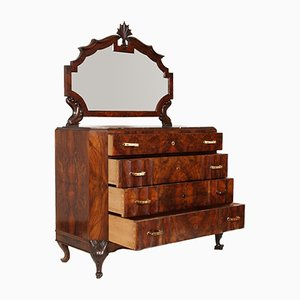 Art Deco Carved Walnut & Burl Dresser by Testolini & Salviati, 1920s