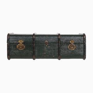 Baúl de viaje italiano de madera verde y lona de cáñamo, años 20