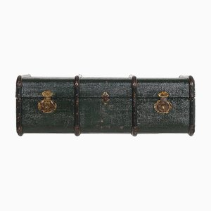 Italian Green Wood & Hemp Canvas Travel Trunk, 1920s