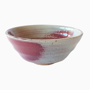 White Stoneware Bowl with Oxblood Glaze by Marcello Dolcini, 2019