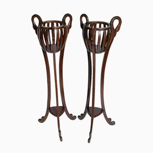 Art Deco Carved Mahogany Flower Stands, 1950s, Set of 2