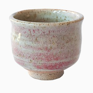 Small White Stoneware Sake Cup with Oxblood Glaze by Marcello Dolcini, 2019