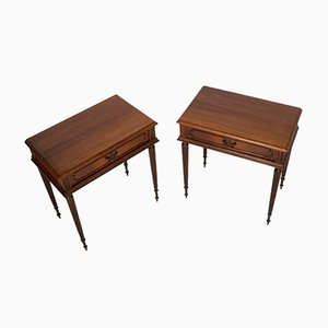 Vintage Louis XVI Walnut Nightstands, Set of 2