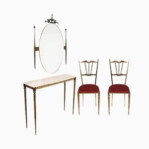 Consolle Art Nouveau in ottone con specchio a muro e sedie, anni '30