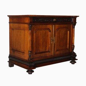 Mobiletto neoclassico in legno di noce intagliato, fine XIX secolo