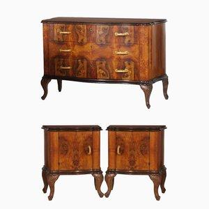 Set de Commode et Tables de Chevet en Ronce de Noyer, 1940s
