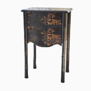 Table de Chevet Noire Vintage Imitation Bambou, Japon