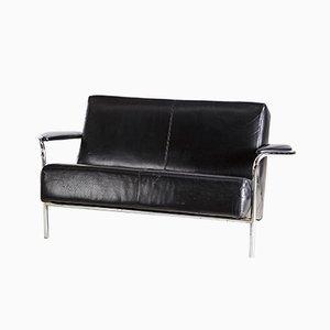 Chrome Framed Black Leather Two Seater Sofa, 1970s