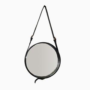 Espejo con marco de cuero de de Jacques Adnet para Hermès, años 50